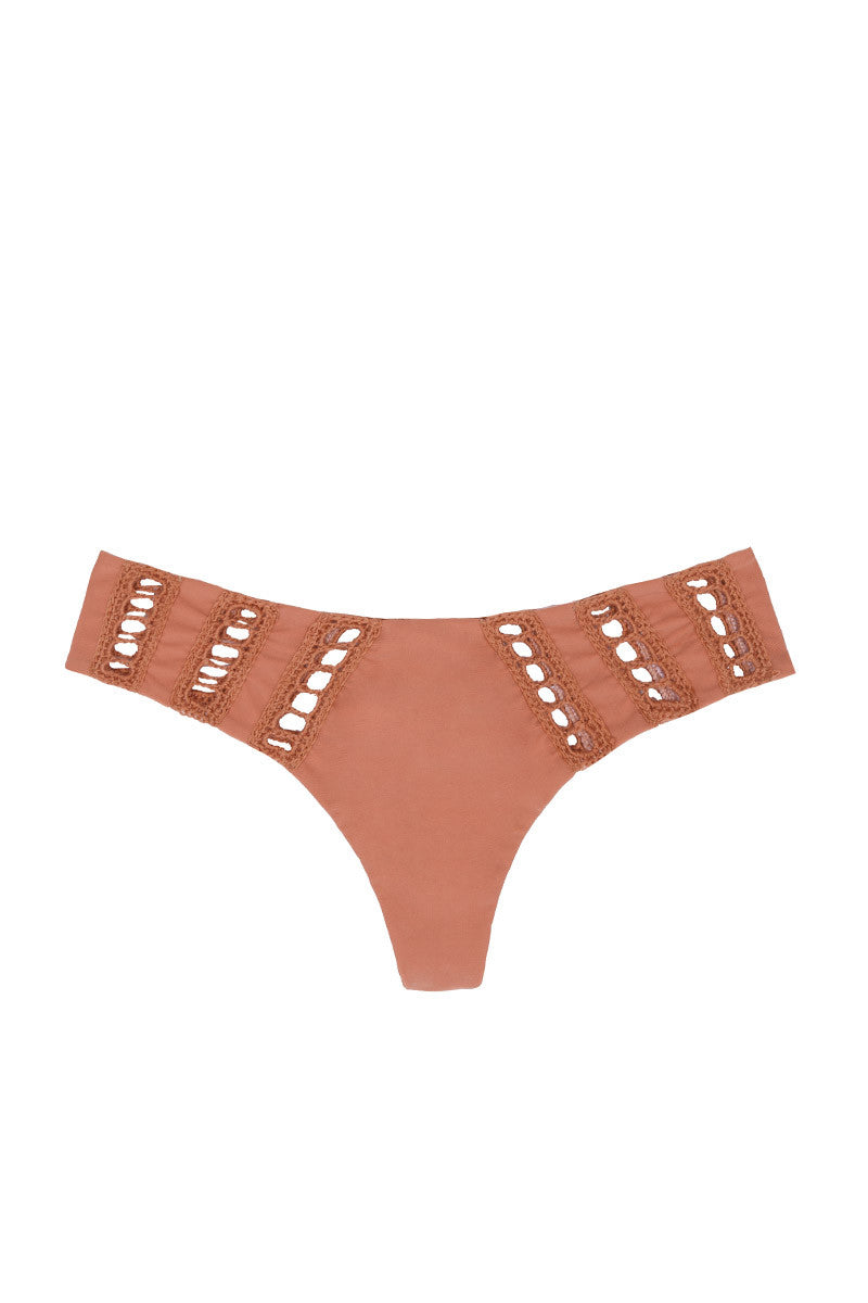 ACACIA Chuns Crochet Brazilian Bikini Bottom - Topless Tan Bikini Bottom | Topless Tan| Acacia Chuns Crochet Brazilian Bikini Bottom - Topless Tan Cheeky coverage Crochet details at hips Imported Italian Nylon/Spandex Front View