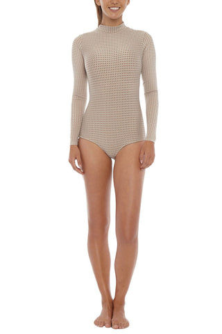 ACACIA Ehukai Mesh Rashguard Bodysuit - Clay One Piece | Clay Mesh| Acacia Ehukai Mesh Rashguard Bodysuit - Clay Mesh Long sleeves Stretch fit Zip closure Mesh overlay Fully lined Imported Italian Nylon/Spandex Front View