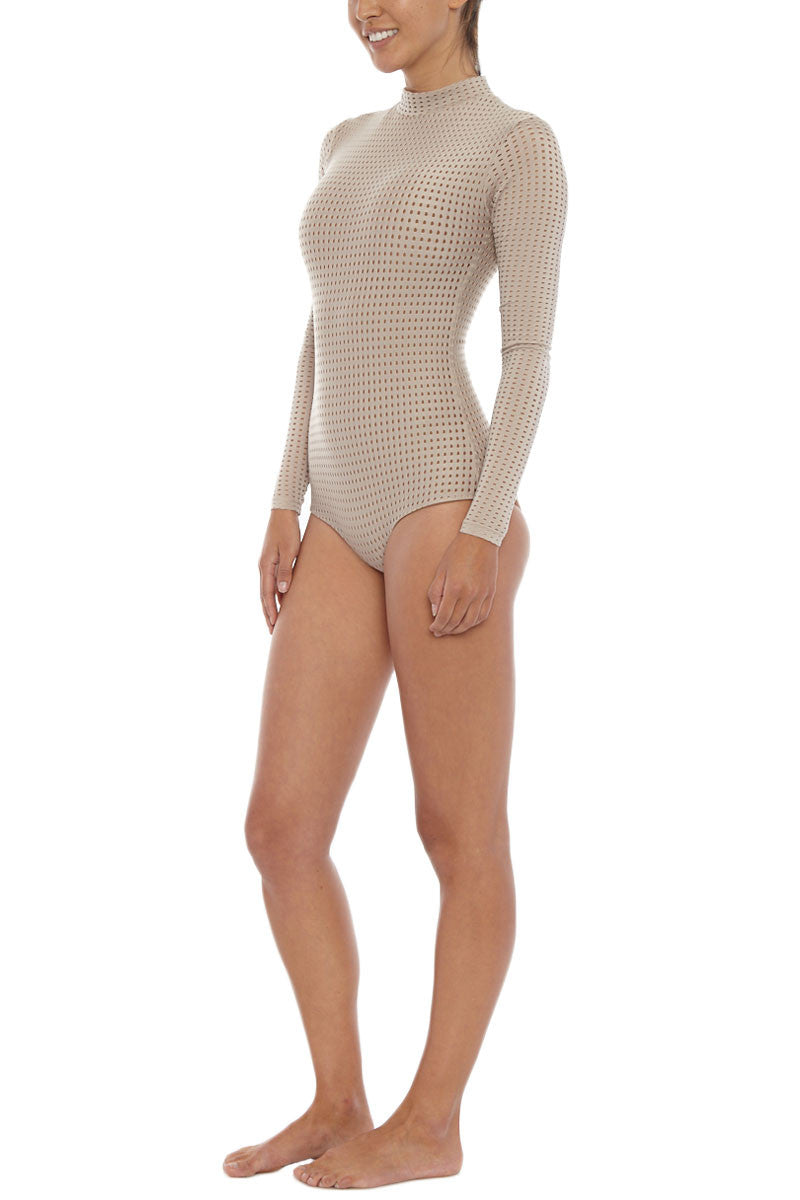 ACACIA Ehukai Mesh Rashguard Bodysuit - Clay One Piece | Clay Mesh| Acacia Ehukai Mesh Rashguard Bodysuit - Clay Mesh Long sleeves Stretch fit Zip closure Mesh overlay Fully lined Imported Italian Nylon/Spandex Side View