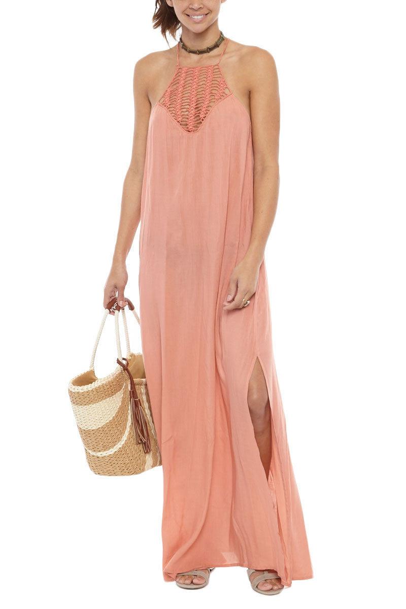 ACACIA Moscow Crochet Maxi Dress - Papaya Dress | Papaya| Acacia Moscow Dress