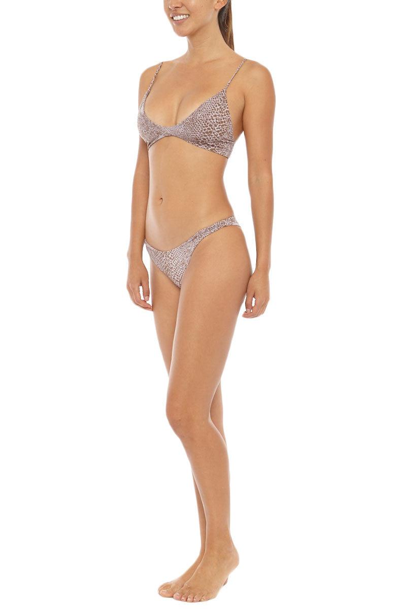 ACACIA Na Pali Top - Snake Lining Beige Bikini Top | Snake Lining| Acacia Na Pali Bikini Top And Bottom On Model Angled Front View