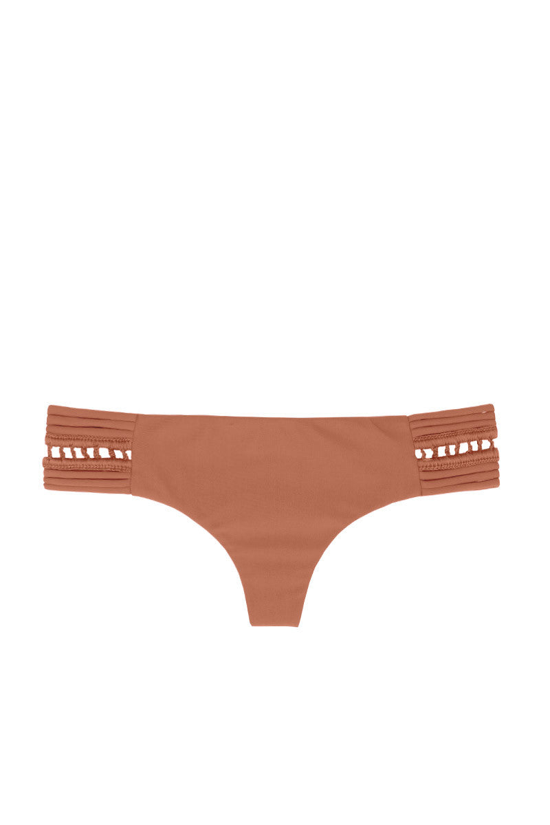 ACACIA Pikake Strappy Crochet Side Cheeky Bikini Bottom - Topless Tan Bikini Bottom | Topless Tan | Pikake Strappy Crochet Side Cheeky Bikini Bottom - Topless Tan Strappy sides crochet detail  cheeky coverage Front View