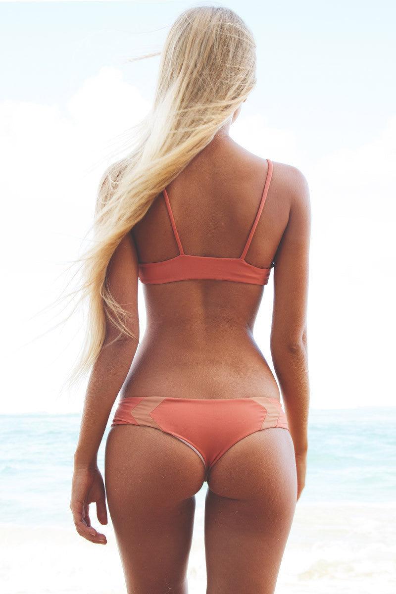 ACACIA Pupukea Color Block Bralette Bikini Top - Papaya/Topless Bikini Top | Papaya & Topless|Lili