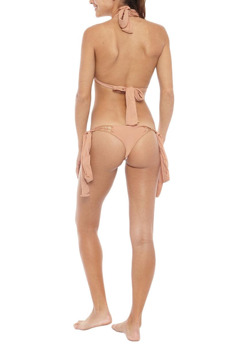 ACACIA Anini Crochet Side Tie Brazilian Bikini Bottom - Topless Tan Bikini Bottom | Topless Tan| Acacia Anini Crochet Side Tie Brazilian Bikini Bottom - Topless Tan Cheeky coverage Crochet details at hips Side ties Imported Italian Nylon/Spandex Back View