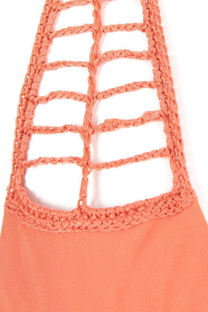 ACACIA Secrets Crochet Halter Bikini Top - Papaya Bikini Top | Papaya|