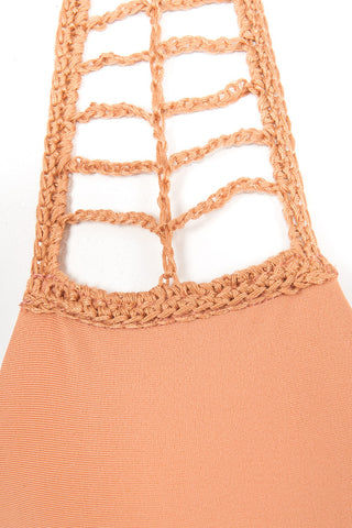 ACACIA Secrets Crochet Halter Bikini Top - Topless Tan Bikini Top | Topless Tan| Acacia Secrets Crochet Halter Bikini Top - Topless Tan Sliding triangle cups Ties at neck and back Crochet details Imported Italian Nylon/Spandex Front View