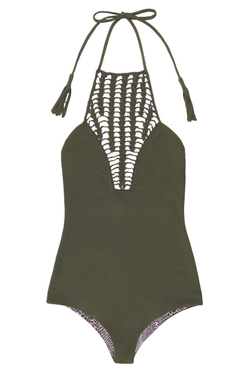 ACACIA Teahupo'o Crochet High Neck One Piece Swimsuit - Palm Green One Piece | Palm| Acacia Teahupo'o Crochet High Neck One Piece Swimsuit - Palm Green. Features: Crochet paneled high neckline, tassel accent neck tie, fully lined. View: Flat lay, full front view.