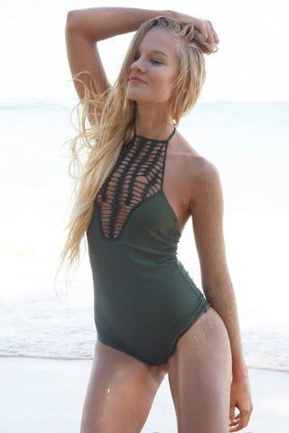 ACACIA Teahupo'o One Piece Swimsuit | Palm Green One Piece | Palm|Acacia| Teahupo'o One Piece Swimsuit| With its Grecian-inspired neckline and striking waterfall crochet panel you'll be uniquely alluring every time you put it on| View: Front Side