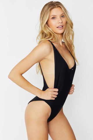 FRANKIES BIKINIS Adele One Piece - Black One Piece | Black|Adele One Piece - Black high cut ribbed one piece swimsuit with a low back scoop