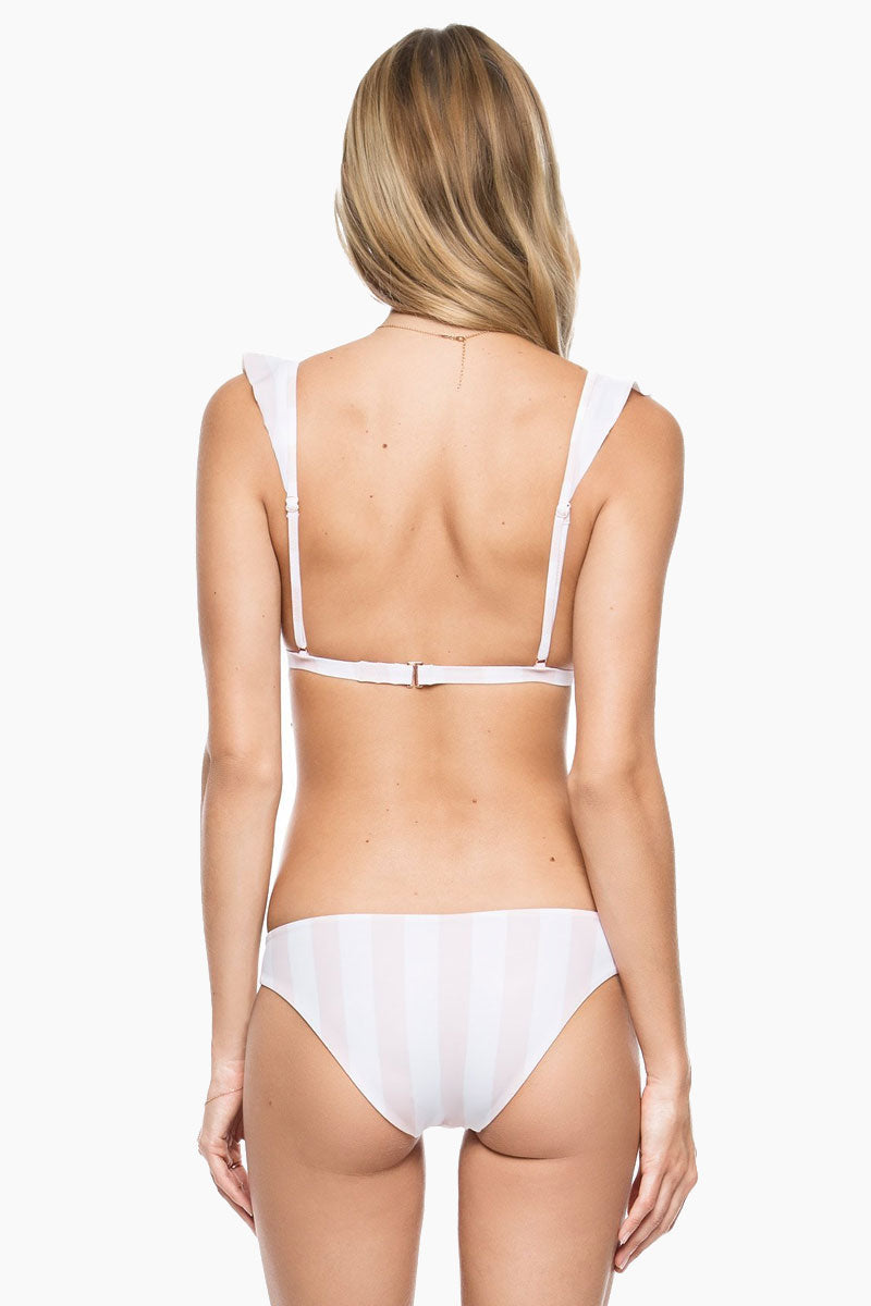 TORI PRAVER Adriana Ruffle Tri Bikini Top - White Bikini Top | White| Tori Praver Adriana Ruffle Tri Bikini Top Back View