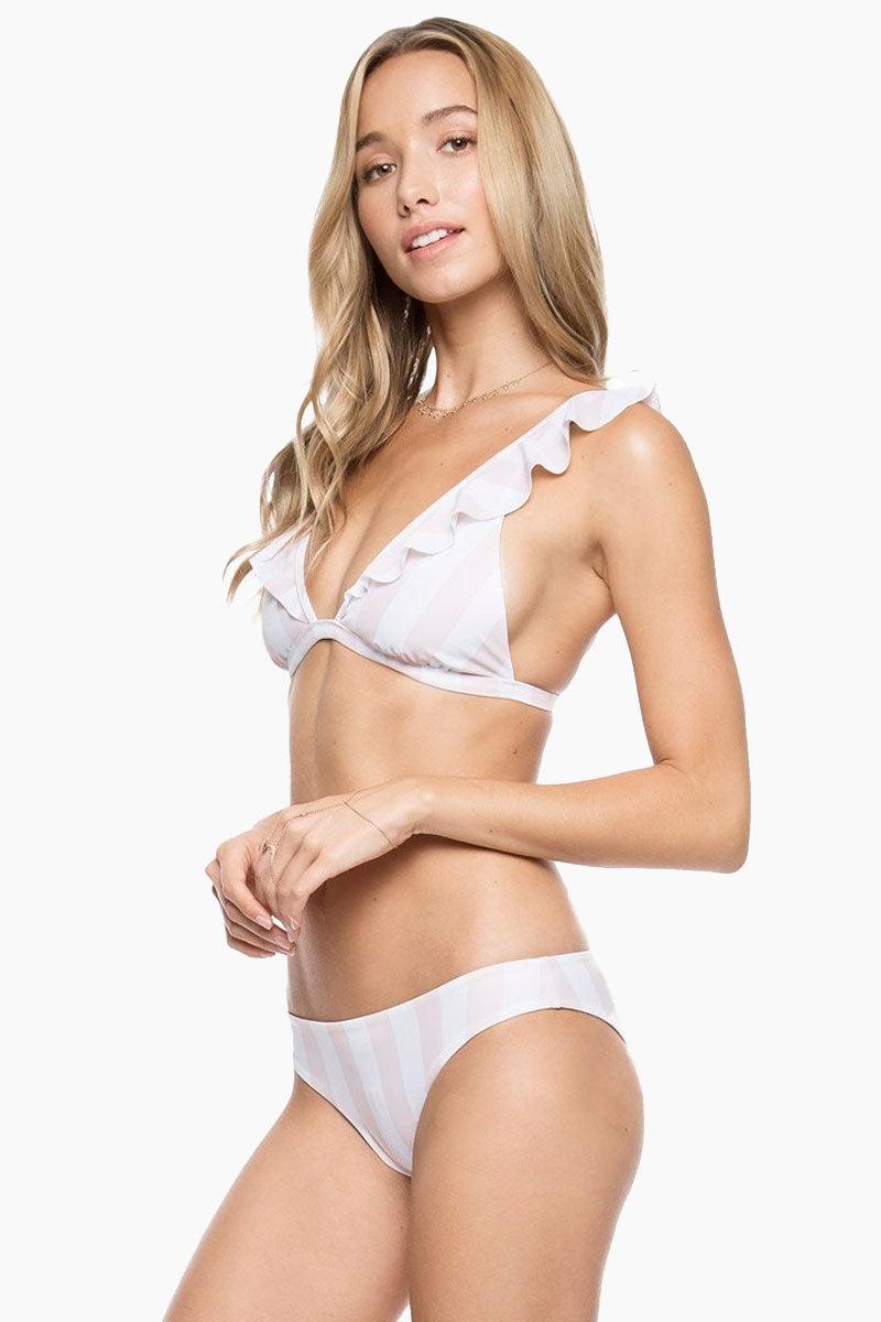 TORI PRAVER Isla Classic Bikini Bottom - White Bikini Bottom | White| Tori Praver Isla Classic Bikini Bottom Side View