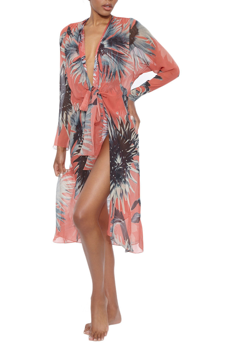 ADRIANA DEGREAS Maxi Flower Long Robe - Antique Coral Floral Print Cover Up | Antique Coral Floral Print| Adriana Degreas Maxi Flower Long Robe - Antique Coral Floral Print Beautifully sheer 100% silk-crepe bikini coverup inspired by French Indochina. Deep coral color offset by a silver-grey exotic floral print.  Attached ties that can be worn either open, knotted in front, or wrapped around waist kimono style. Front View