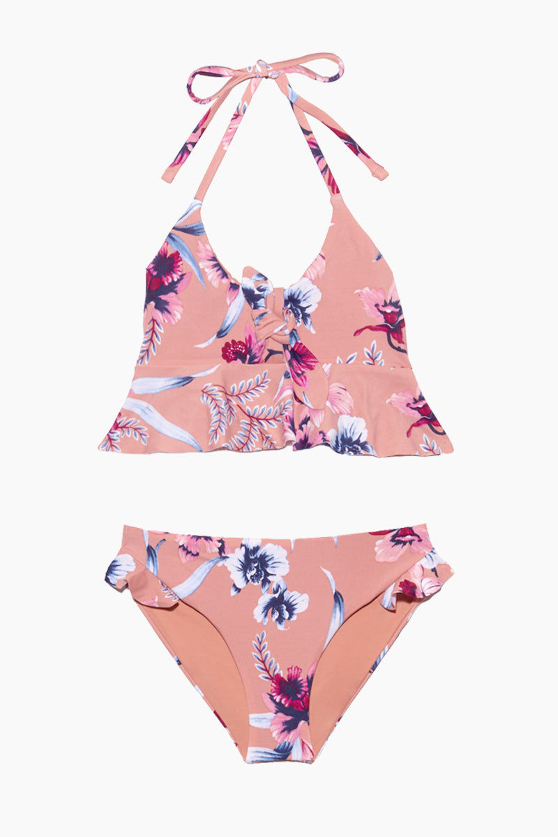 TORI PRAVER GIRLS Adrienne Ruffle Kids Bikini Set - Pink Kids Bikini | Pink|Adrienne Ruffle Kids Bikini Set - Features:  Pull over halter bralette Non-functional Tie And Ruffle Detail On Top Ruffle Detail At Bottom Hips Clean Finish Front / Solid Self Lining
