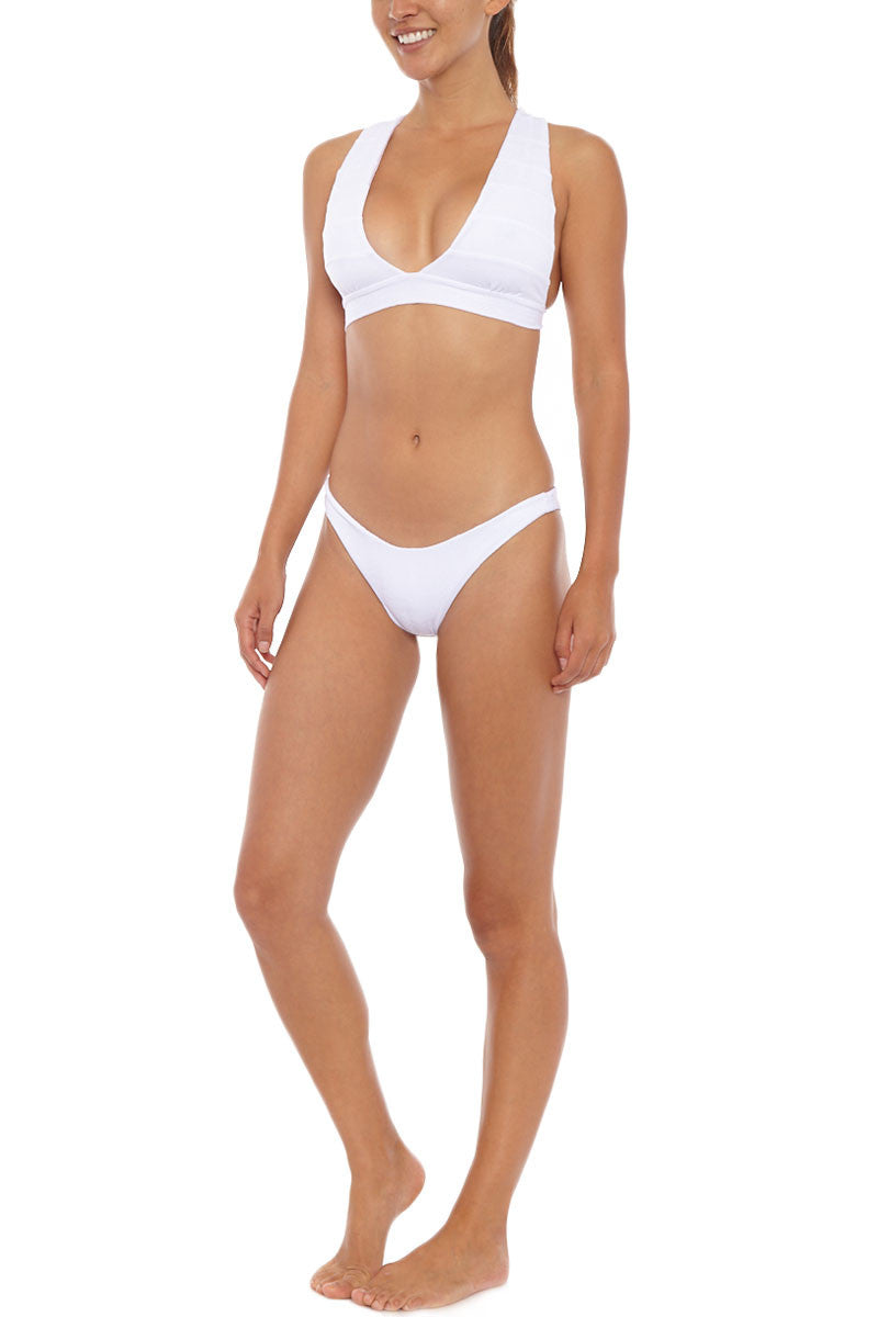 AILA BLUE Audrey Low Cut Bikini Top - White Paisley Bikini Top | White Paisley| Aila Blue Audrey Low Cut Bikini Top - White Paisley. Front View. Audrey Low Cut Bikini Top - White Paisley