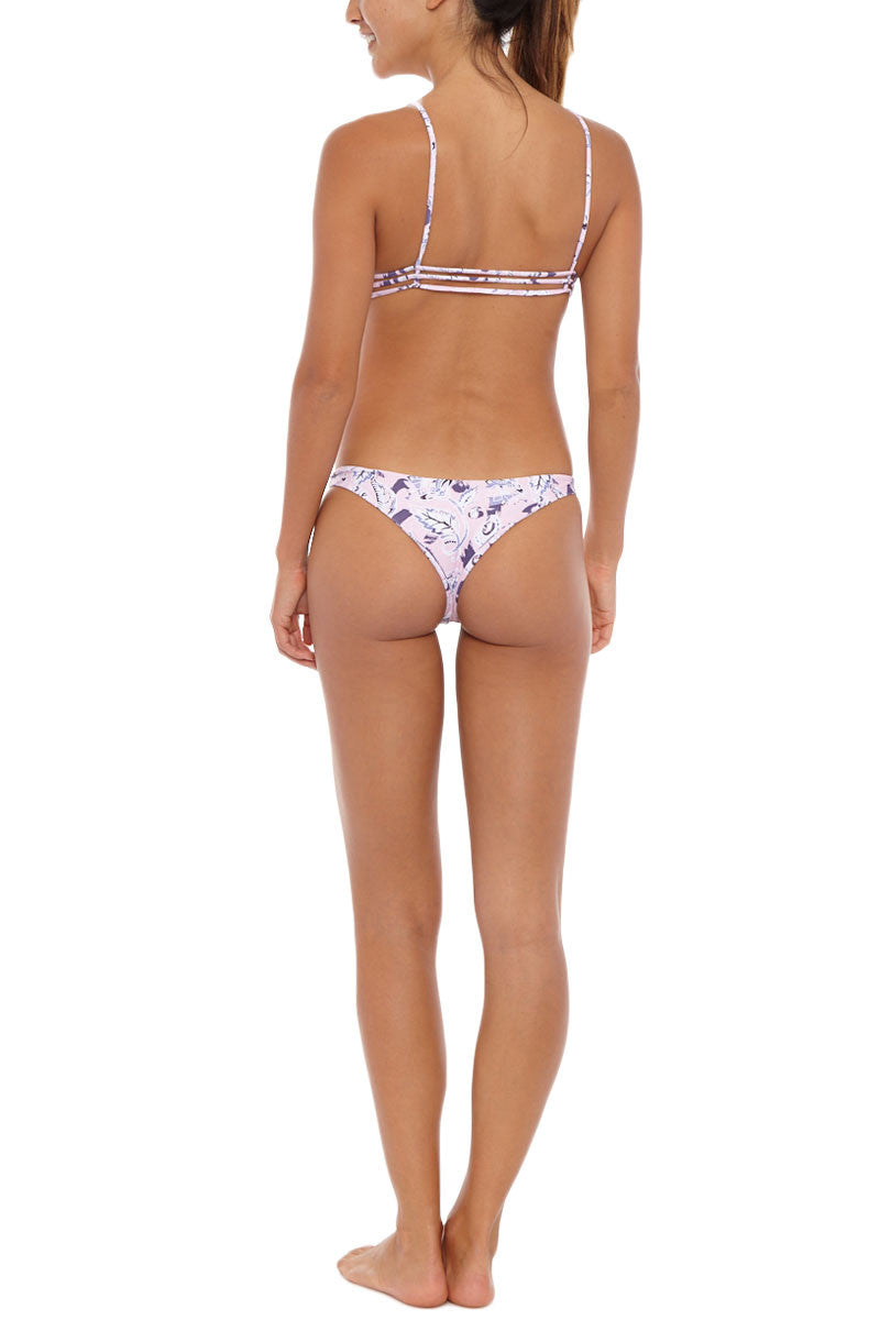 AILA BLUE Ocean Hipster Cheeky Bikini Bottom - Pink Paisley Print Bikini Bottom | Pink Paisley Print| Aila Blue Ocean Hipster Cheeky Bikini Bottom - Pink Paisley Print Cheeky coverage Low rise. Paisley Print Back View