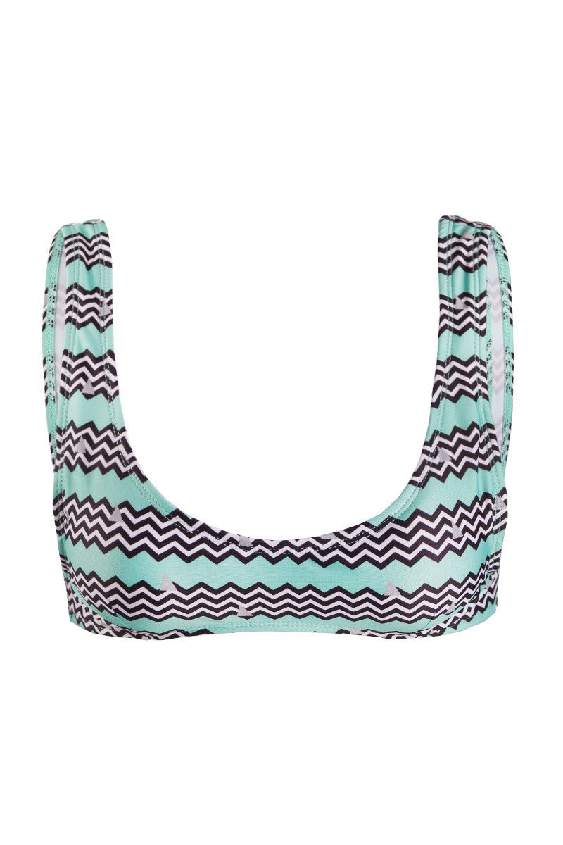 KOVEY Alaia Sporty Bralette Bikini Top - Shark Fin Chevron Print Bikini Top   Shark Fin Chevron Print  Kovey Alaia Sporty Bralette Bikini Top - Shark Fin Chevron Print Turquoise blue sporty scoop neck bikini top in classic black and white chevron print. Wide, fixed shoulder straps offer extra bust support and stay secure while swimming, surfing, and sunbathing. Removable pads Front View