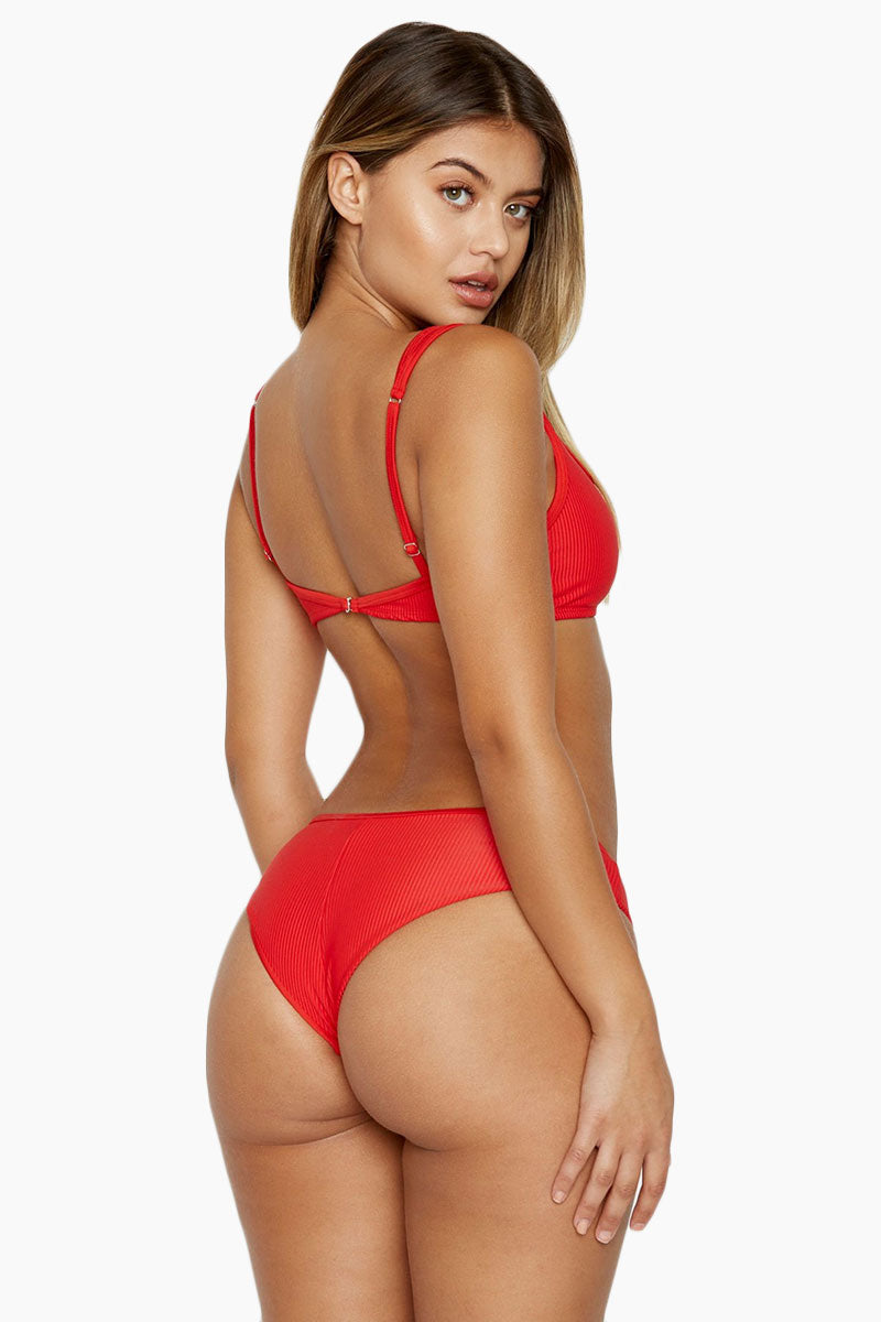 FRANKIES BIKINIS Alana Bikini Bottom - Red Bikini Bottom | Red| Frankies Bikinis Alana Bikini Bottom - Red Back View Front Button Detail  High Cu Leg  Cheeky Coverage  Luxe Rib Fabric