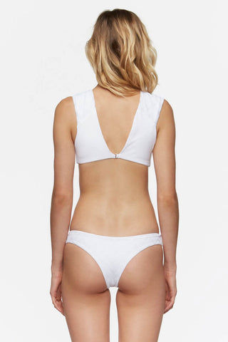 TAVIK Alcamy Top - White Textured Chevron Bikini Top | White Textured Chevron| Tavik Alcamy Top - White Textured Chevron Flat Lay View Low V Front & Back Neckline  Adjustable Hook Closure  Textured Chevron  Seamless Nylon / Spandex Blend  Machine Wash Cold  Designed & Made in California