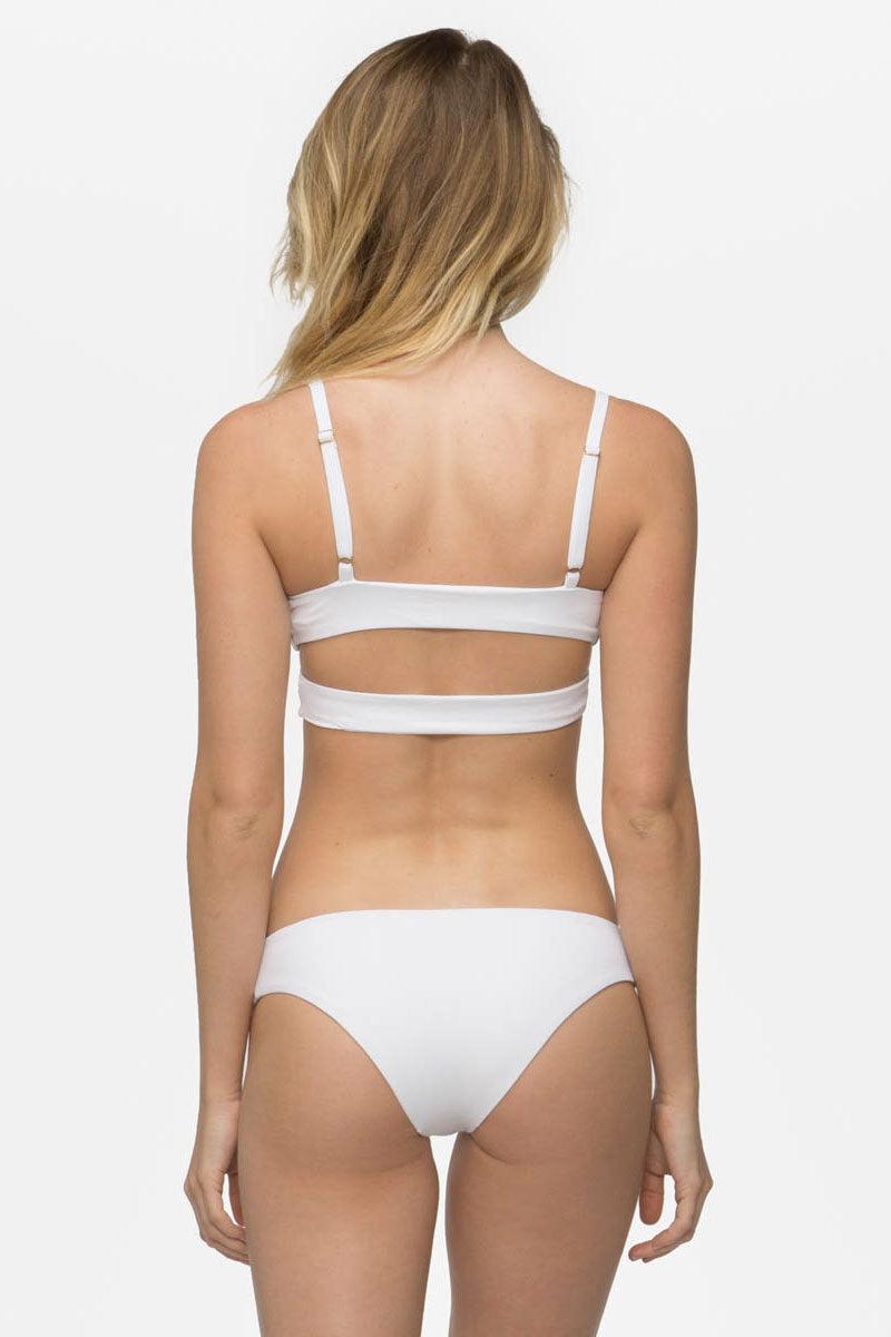 TAVIK Ali Moderate Bikini Bottom - White Bikini Bottom   White Ali Bikini Bottom Back View - FEATURES:  Textured fabric Stretch fit Moderate Coverage Classic bikini bottom
