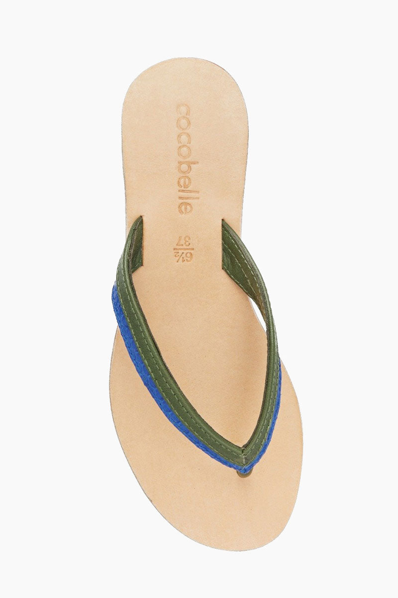 COCOBELLE Ali Sandals - Olive Sandals | Olive| Cocobelle Ali Sandals - With contrasting bi-color leather thong and leather in sole the quintessential flip flop has been upgraded. For style and comfort look no further.  Made in Bali  100% Leather Upper Cushioned Rubber Sole Front View