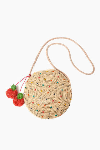 MAR Y SOL Alma Embroidered Raffia Crossbody W/ Cherry Poms And Leather Strap - Multi Bag | Multi| MAR Y SOL Alma Embroidered Raffia Crossbody W/ Cherry Poms And Leather Strap Front View