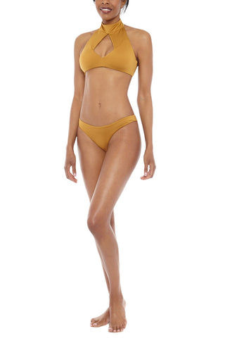 AMAIO SWIM Cafe De Paris Bikini Top Bikini Top | Gold| Amaio Cafe de Paris Bikini Top-Features:  High neck, keyhole top Mother-of-Pearl snaps at neck  Gold brushed clasp  Hand wash 85% Nylon, 15% Elastane