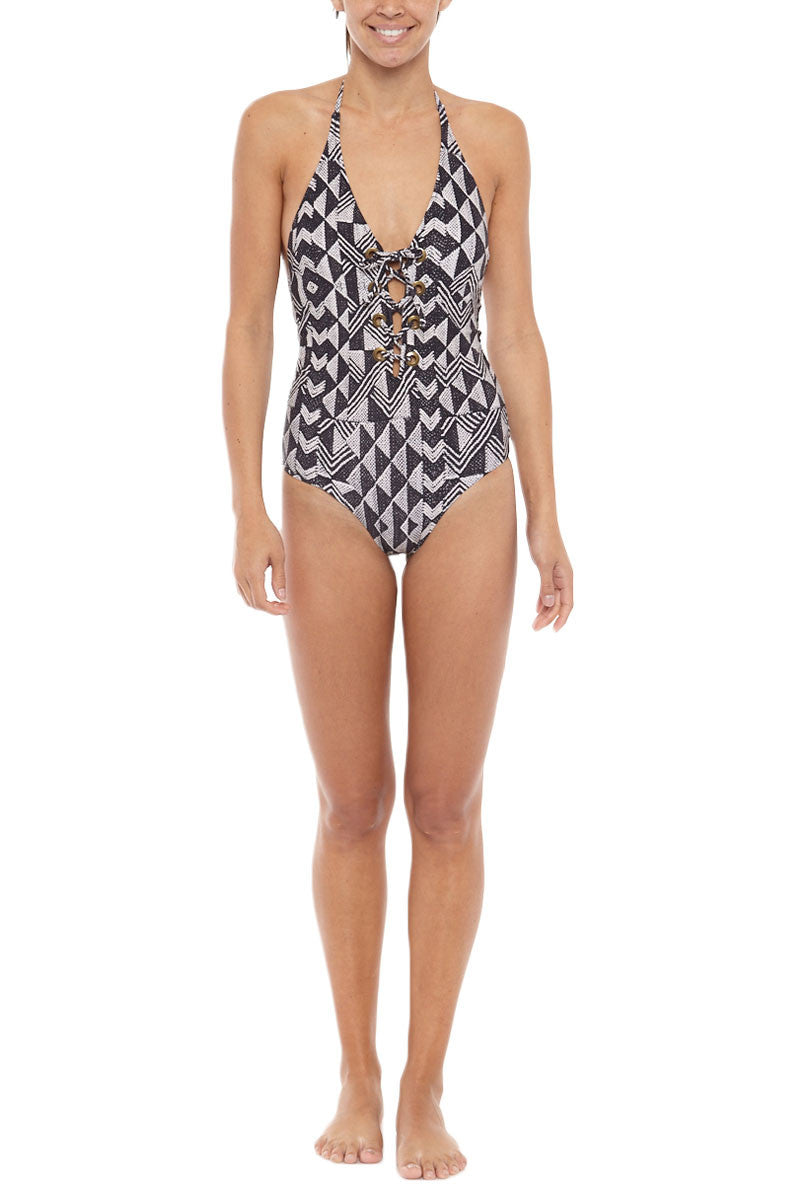 AMUSE SOCIETY Elese Halter Lace Up One Piece Swimsuit - Black Sands Geometric Print One Piece | Black Sands Geometric Print| Society Amuse Elese Halter Lace Up One Piece Swimsuit - Black Sands Geometric Print Lace-up one-piece swimsuit in black and white geometric print. Front View