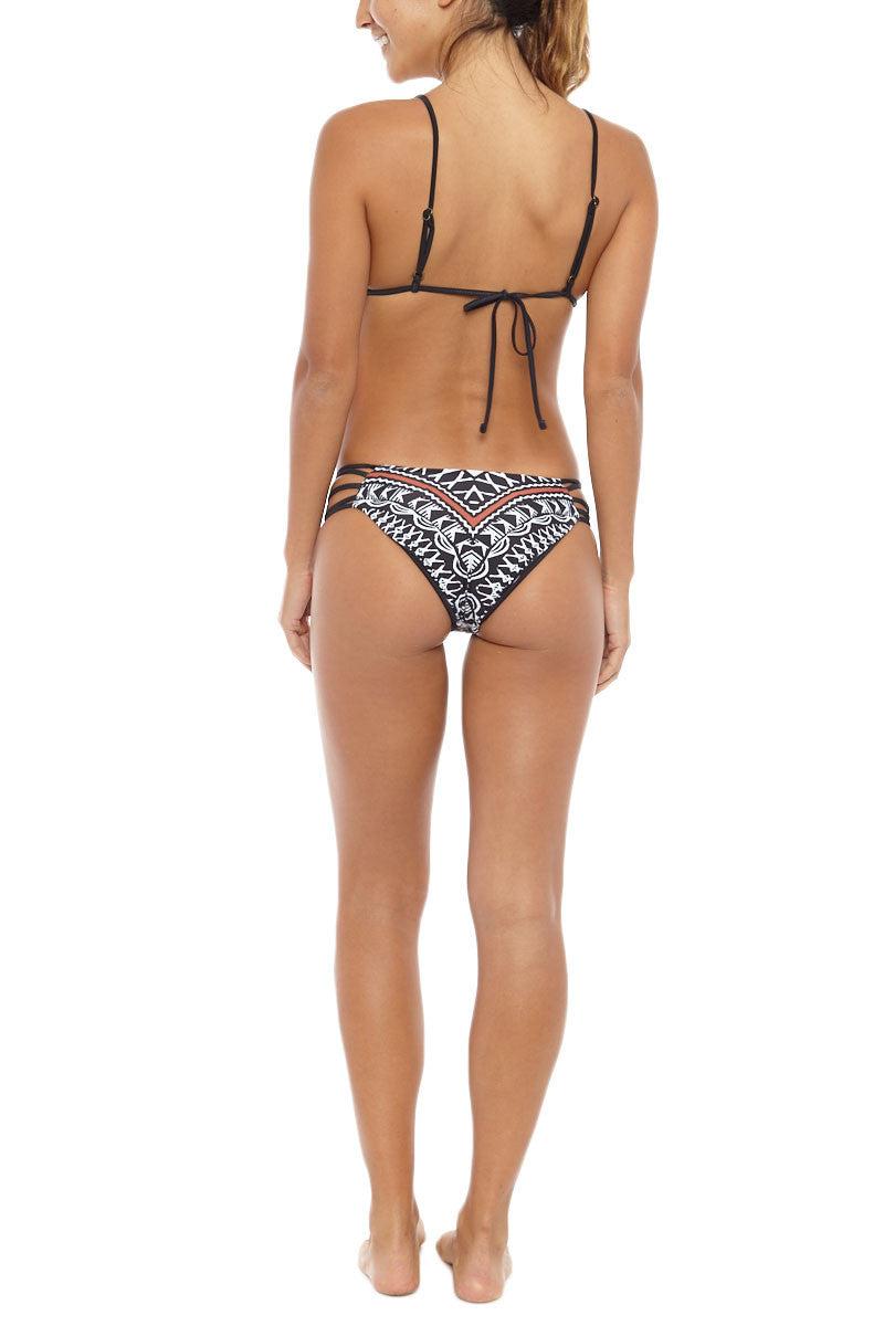 AMUSE SOCIETY Meromar Cheeky Bikini Bottom - Red/Black Bikini Bottom   Red/Black Sands  Amuse Society Meromar Cheeky Bikini Bottom - Red/Black