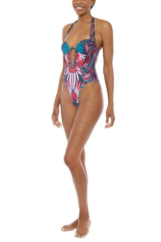 ANDREA IYAMAH Halter Underwire Cut Out One Piece Swimsuit - Kenya Print One Piece | Kenya Print| Andrea Iyamah Kenya One Piece