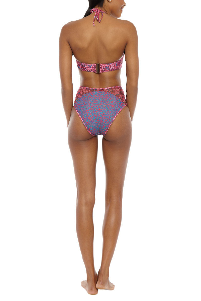 ANDREA IYAMAH Nissa High Neck Cut Out Underwire Bikini Top - Pink & Purple Abstract Print Bikini Top | Pink & Purple Abstract Print|Andrea Iyamah Nissa High Neck Cut Out Underwire Bikini Top - Pink & Purple Abstract Print Cut-out detail High neck Moulded cups & underwire Ties at neck Adjustable mid back hook closure Thick bra band Open back Back View