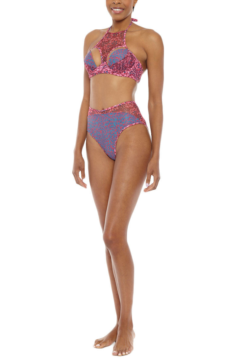 ANDREA IYAMAH Nissa High Neck Cut Out Underwire Bikini Top - Pink & Purple Abstract Print Bikini Top | Pink & Purple Abstract Print|Andrea Iyamah Nissa High Neck Cut Out Underwire Bikini Top - Pink & Purple Abstract Print Cut-out detail High neck Moulded cups & underwire Ties at neck Adjustable mid back hook closure Thick bra band Open back Front View