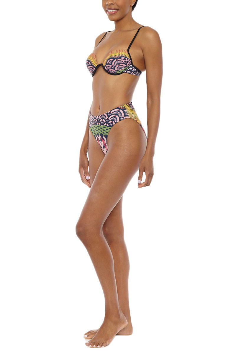 ANDREA IYAMAH Sonya Underwire Bikini Top - Rainbow Abstract Print Bikini Top | Rainbow Abstract Print| Andrea Iyamah Sonya Underwire Bikini Top - Rainbow Abstract Print Sculpted Underwire detail Adjustable straps Moulded cups & underwire Polyester/Spandex Side View