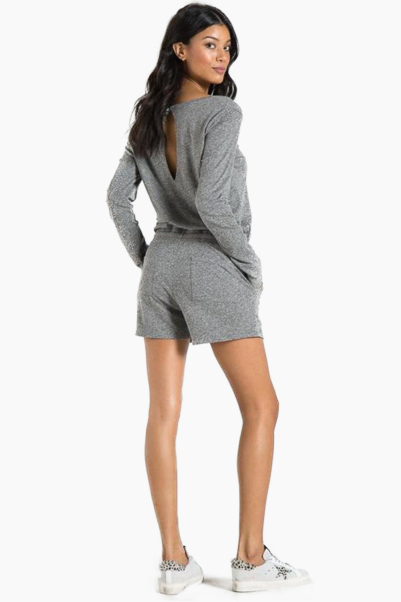 N:PHILANTHROPY Arroyo Long Sleeve Romper - Heather Grey Romper | Heather Grey| n:Philanthropy Arroyo Long Sleeve Romper - Heather Grey Long sleeve romper V neckline  Elastic waist with functional drawcord Front and back patch pocket details Rib neck band detail Back keyhole with button Back View