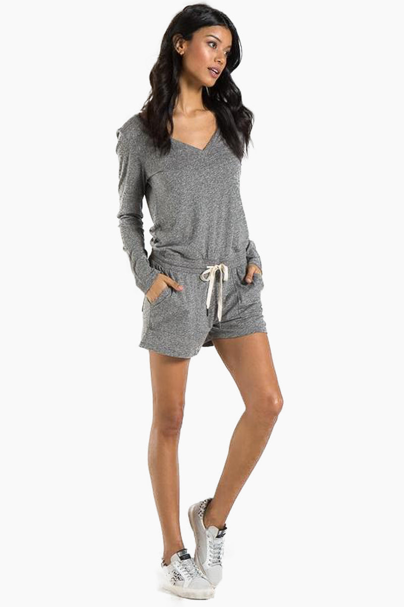 N:PHILANTHROPY Arroyo Long Sleeve Romper - Heather Grey Romper | Heather Grey| n:Philanthropy Arroyo Long Sleeve Romper - Heather Grey Long sleeve romper V neckline  Elastic waist with functional drawcord Front and back patch pocket details Rib neck band detail Back keyhole with button Side View