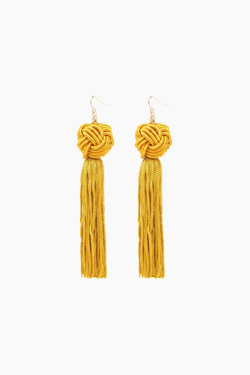 VANESSA MOONEY Gold Astrid Knotted Tassel Earrings Jewelry | Gold| VANESSA MOONEY Gold Astrid Knotted Tassel Earrings Flat Lay View