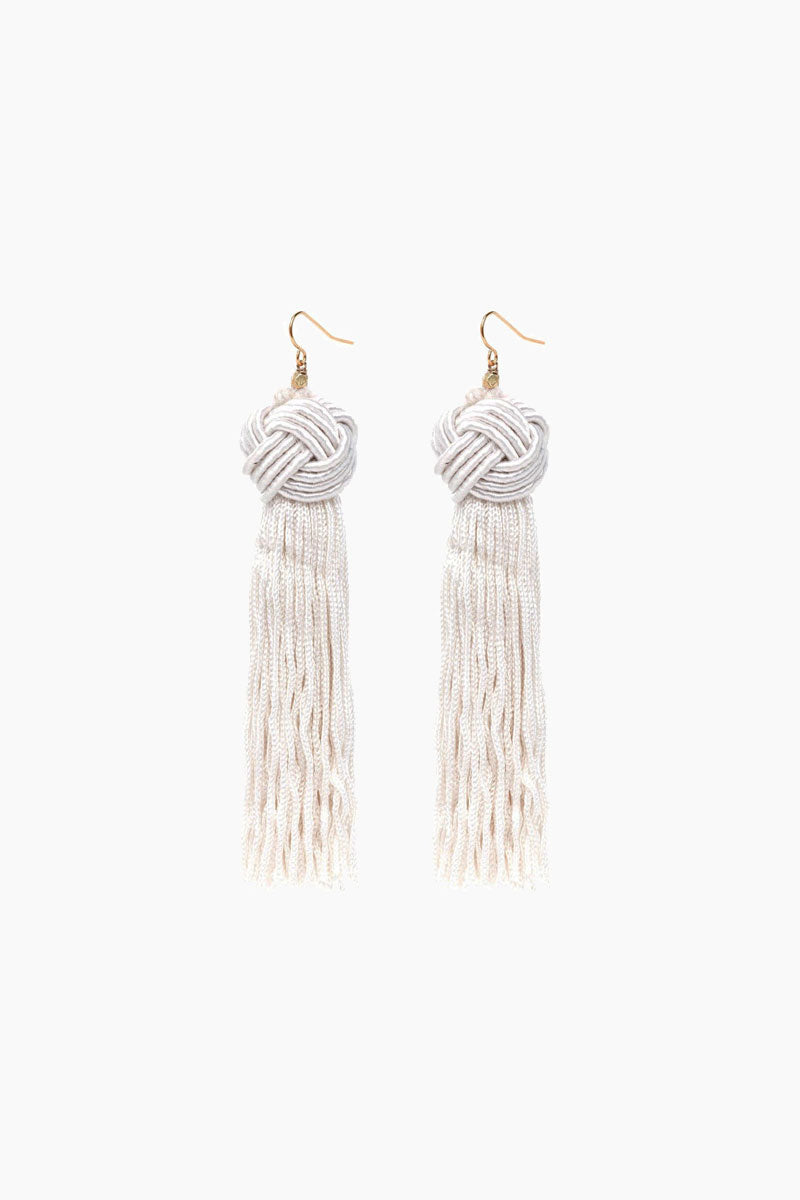 VANESSA MOONEY Ivory Astrid Knotted Tassel Earrings Jewelry | Ivory| VANESSA MOONEY Astrid Knotted Tassel Earrings Front View