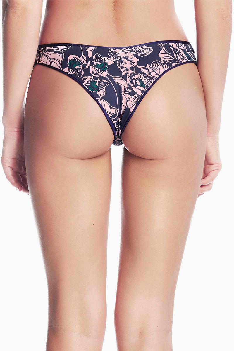 MAAJI Cascade Reversible Cheeky Bikini Bottom - Navy/Navy Print Bikini Bottom | Navy/Navy Print| Maaji Cascade Reversible Cheeky Bikini Bottom - Navy/Navy Print Hipster style  High cut  Cheeky coverage  Reversible Back view
