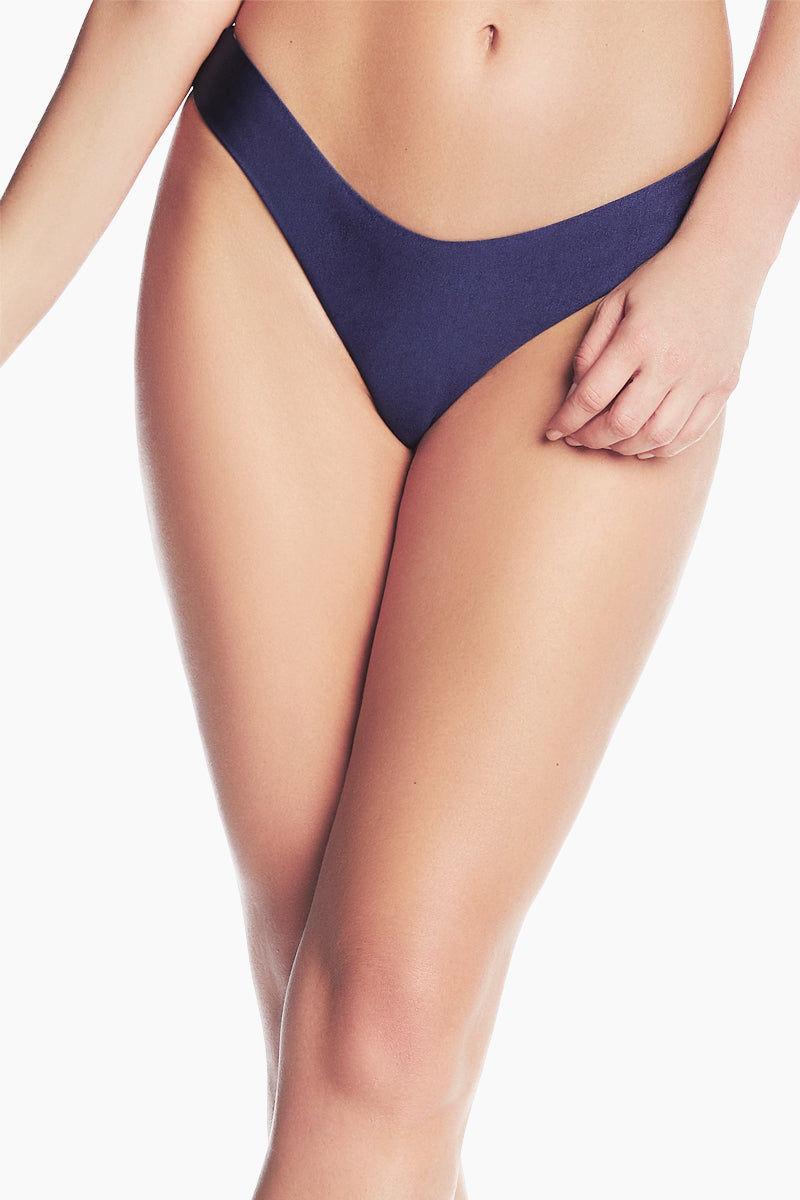 MAAJI Cascade Reversible Cheeky Bikini Bottom - Navy/Navy Print Bikini Bottom | Navy/Navy Print| Maaji Cascade Reversible Cheeky Bikini Bottom - Navy/Navy Print Hipster style  High cut  Cheeky coverage  Reversible Front view