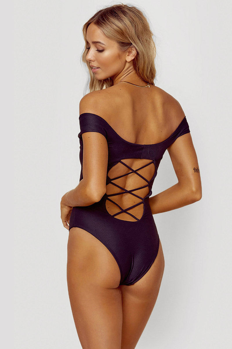 BLUE LIFE Off Shoulder One Piece Swimsuit - Textured Black One Piece | Textured Black| Blue Life Off Shoulder One Piece Swimsuit - Textured Black Back View Off Shoulder One Piece  Lace Up Front Detail  Open Back with Criss Cross Detail  High Cut Leg  Cheeky Coverage