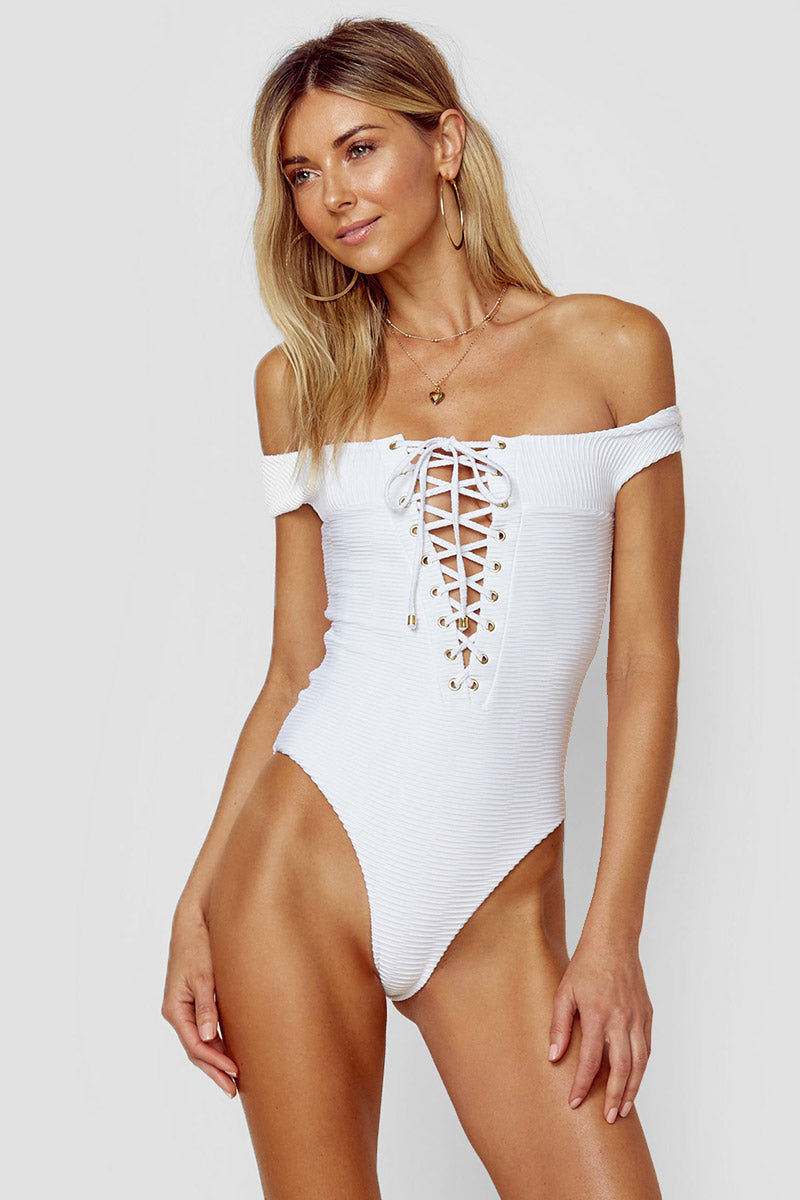 BLUE LIFE Off Shoulder One Piece Swimsuit - White Jacquard One Piece | White Jacquard| Blue Life Off Shoulder One Piece Swimsuit - White Jacquard Side View Off Shoulder One Piece  Lace Up Front Detail  Open Back with Criss Cross Detail  High Cut Leg  Cheeky Coverage