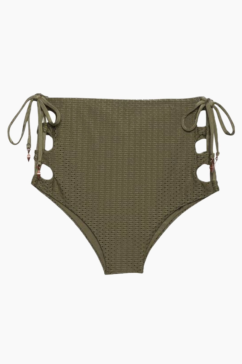ROSA CHA Hot Laces High Waisted Bikini Bottom - Olive Green Bikini Bottom | Olive Green| Rosa Cha Hot Laces High Waisted Bikini Bottom - Olive Green High Waisted Bikini Bottom Lace Up Sides  Moderate Coverage  Front View
