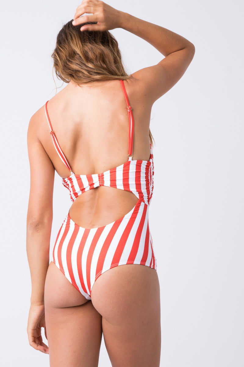 BEACH RIOT Karissa Front Tie Cut Out One Piece Swimsuit - Red & White Stripe Print One Piece | Red & White Stripe Print| Beach Riot Karissa Front Tie Cut Out One Piece Swimsuit - Red & White Stripe Print Plunging Neckline  Front Tie Closure  Front & Back Cut Out  Adjustable Spaghetti Straps Moderate Coverage Back View