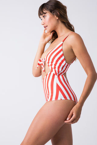 BEACH RIOT Karissa Front Tie One Piece Swimsuit - Red/White Stripe One Piece | Red/White Stripe| Beach Riot Karissa Front Tie One Piece - Red/White Stripe Plunging Neckline  Front Tie Closure  Front & Back Cut Out  Adjustable Spaghetti Straps Moderate Coverage Front View