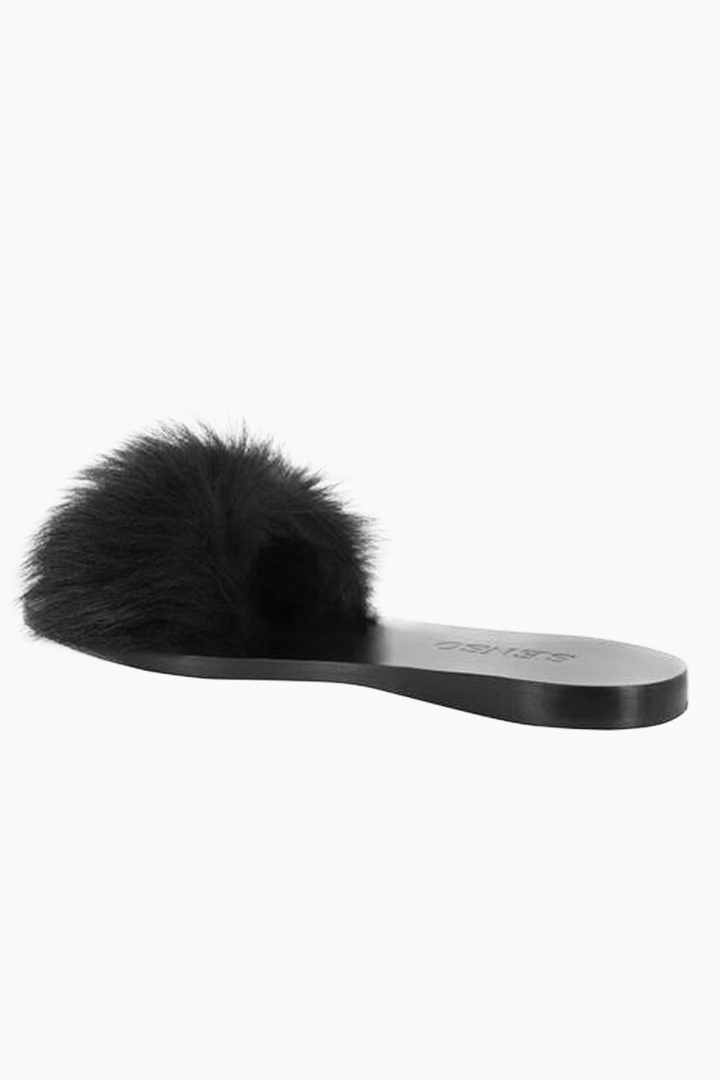 SENSO Bronte Slide - Ebony Sandals | Ebony| Senso Bronte Slide - Ebony. Features:  Genuine leather  Shearling detail to outer vamp Black shade Slip-on design  Open square toe Front View