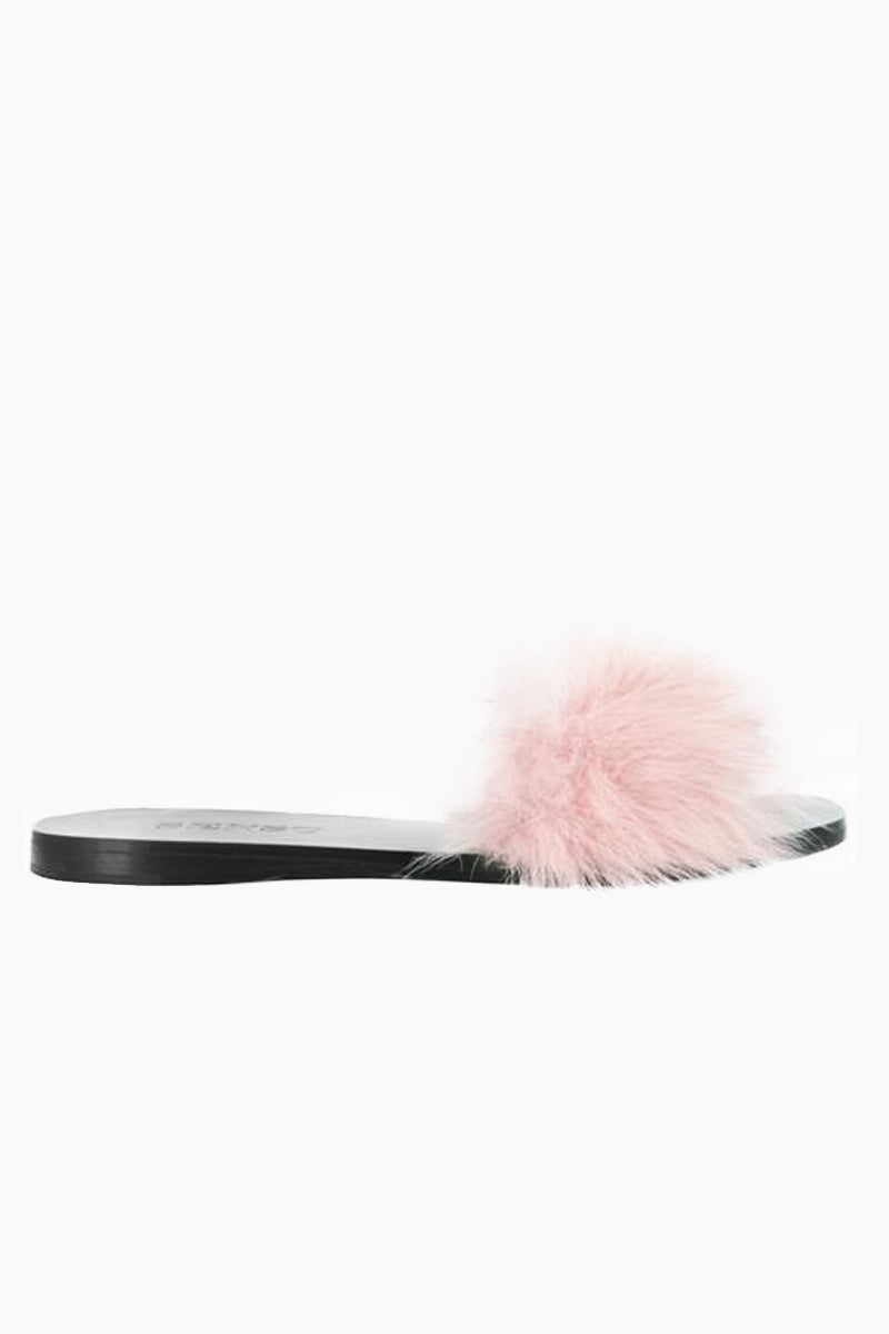 SENSO Bronte Slide - Blush Sandals | Blush| Senso Bronte Slide - Blush. Features:  Genuine leather  Shearling detail to outer vamp Black shade Slip-on design  Open square toe Front View