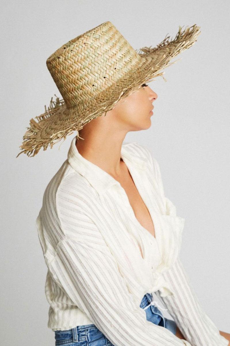 "BRIXTON Burma Straw Sun Hat - Dark Tan Hat | Dark Tan| Brixton Burma Hat - Dark Tan Wide Brim Unfinished Edges Straw Construction 5.5"" Brim 22"" Head Circumference Side View"