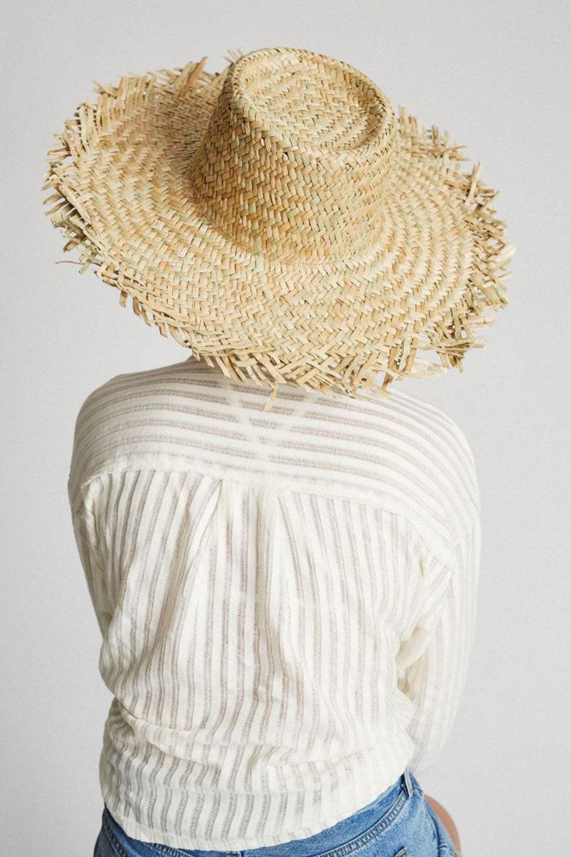 "BRIXTON Burma Straw Sun Hat - Dark Tan Hat | Dark Tan| Brixton Burma Hat - Dark Tan Wide Brim Unfinished Edges Straw Construction 5.5"" Brim 22"" Head Circumference Back View"
