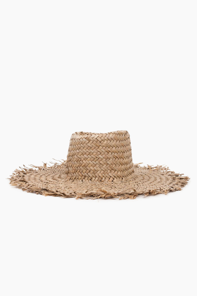 "BRIXTON Burma Straw Sun Hat - Dark Tan Hat | Dark Tan| Brixton Burma Hat - Dark Tan Wide Brim Unfinished Edges Straw Construction 5.5"" Brim 22"" Head Circumference Front View"