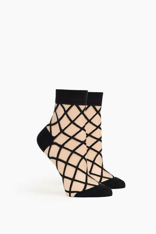 RICHER POORER Bailee Ankle Socks - Black Accessories | Black| Richer Poorer Bailee Ankle Socks - Black. FEATURES :  Anklet styling Lightweight combed cotton with sheer fabric 60% Cotton, 40% Nylon. View: Ghost image, side view
