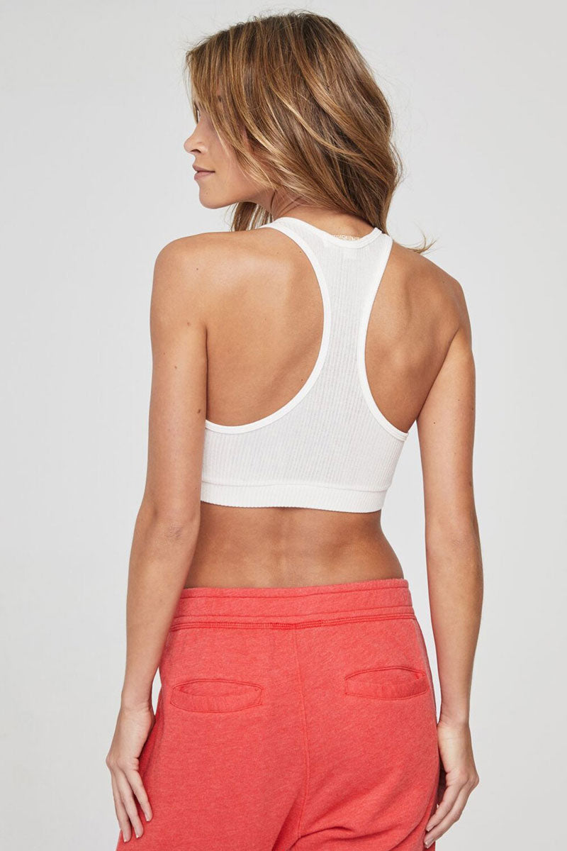 SPIRITUAL GANGSTER Ballet Ribbed Racerback Sports Bra - Stone White Top | Stone White| Spiritual Gangster Ballet Ribbed Racerback Sports Bra - Stone White Scoop Neckline Racerback Hidden Elastic Band  Double Layered For Extra Support & Coverage  Made from soft ribbed Viscose/Spandex Back View